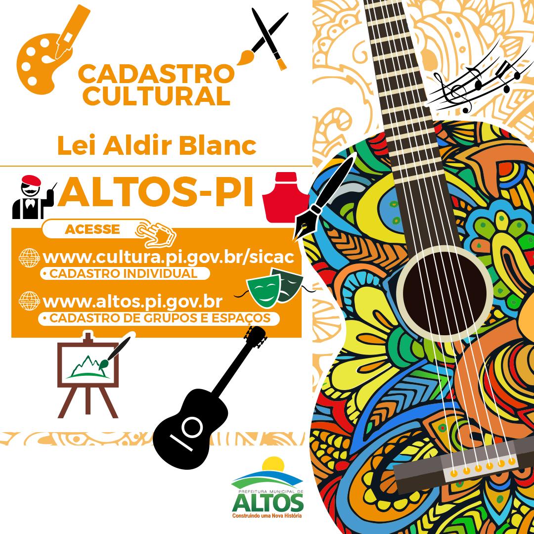 Prefeitura de Altos inicia cadastro para auxílio cultural da Lei Aldir Blanc